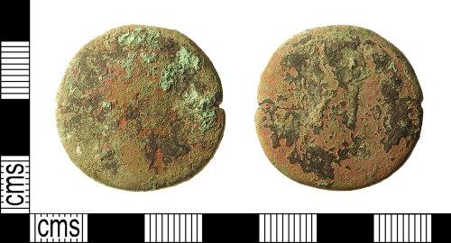 IOW-5DBAE7: Roman Coin: Sestertius, probably of an Antonine Emperor