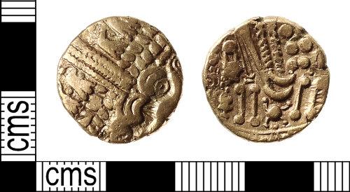IOW-4E6997: Iron Age Coin: Gold Stater of the Belgae ('Cheriton smiler')