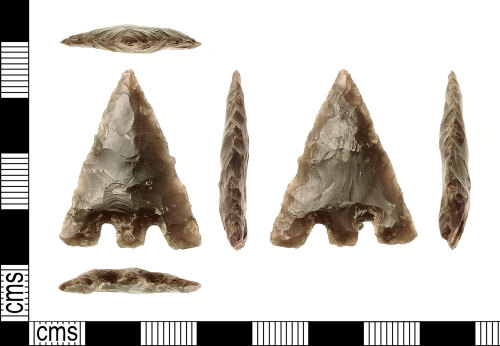 A resized image of Early Bronze Age Barbed and tanged Flint Arrowhead