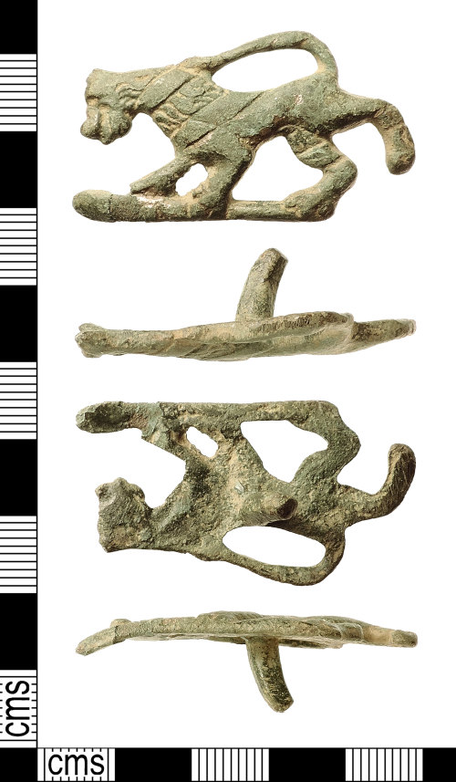 IOW-C796F1: Post-Medieval Zoomorphic Mount or Stud (Dacre beast style)