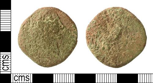 IOW-54F5A9: Roman Coin: Sestertius, probably of Antoninus Pius