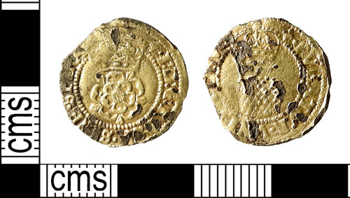 IOW-17C5F3: Post-Medieval Coin: Halfgroat of James I (gold plated)