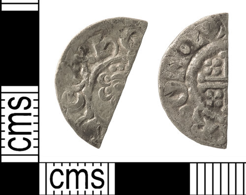 A resized image of Medieval Coin: Cut Halfpenny of John