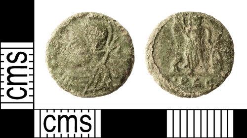 IOW-910BAA: Roman Coin: Nummus of the House of Constantine (contemporary copy)