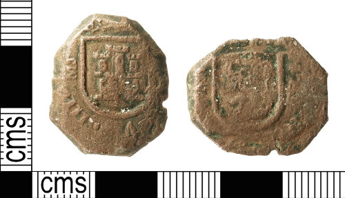 IOW-5AB401: Post-Medieval Coin: Maravedis of Philip IV of Spain