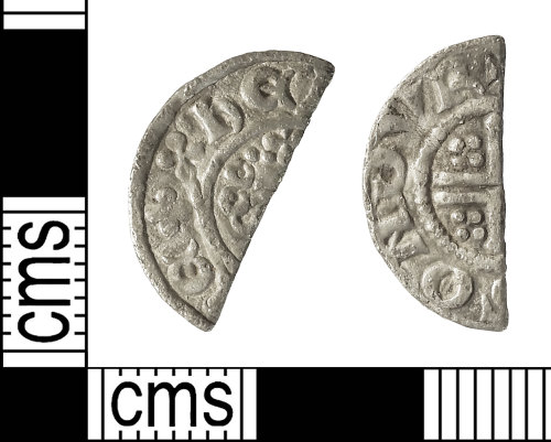 IOW-6C1612: Medieval Coin: Cut Halfpenny of Henry III