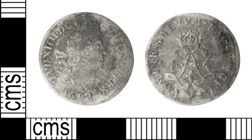 IOW-CE484D: Post-Medieval Coin: Sol-piece of Louis XIV of France