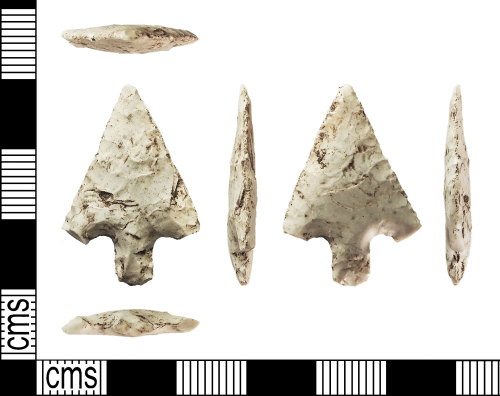 IOW-E76144: Bronze Age: Barbed and Tanged Flint Arrowhead