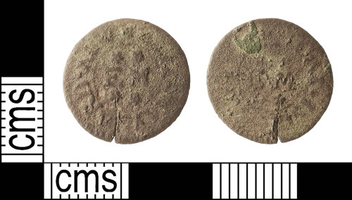 IOW-8B407A: Post-Medieval: Token Farthing issued by Elizabeth Maynard, an Apothecary of Newport, Isle of Wight