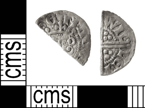 IOW-AB49A5: Medieval Coin: Cut Halfpenny of Henry III