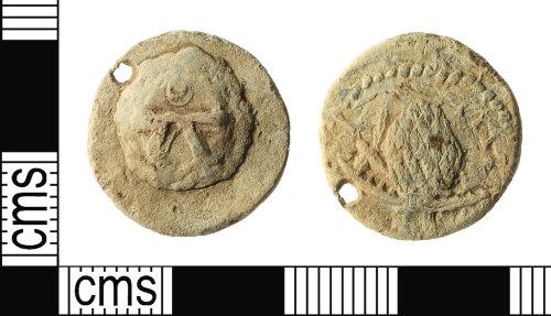 IOW-46CE52: Post-Medieval Augsburg Cloth-seal (pierced)