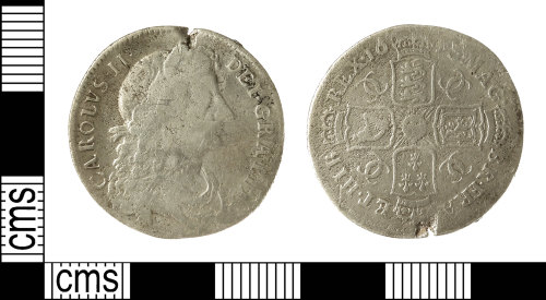 IOW-DCBC58: Post-Medieval Coin: Shilling of Charles II