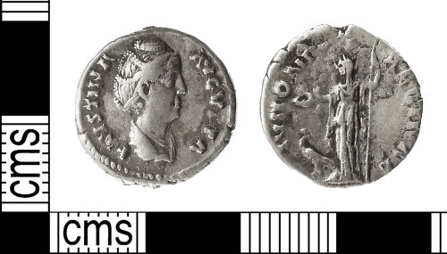 IOW-4CB6D4: Roman Coin: Denarius of Faustina I