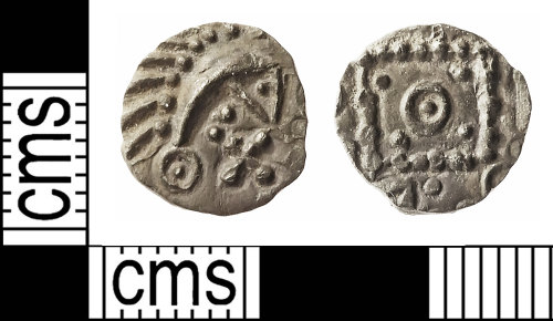 IOW-A1610B: Early-Medieval (Anglo-Saxon) Coin: 'Porcupine' Series E, Variety D Sceat