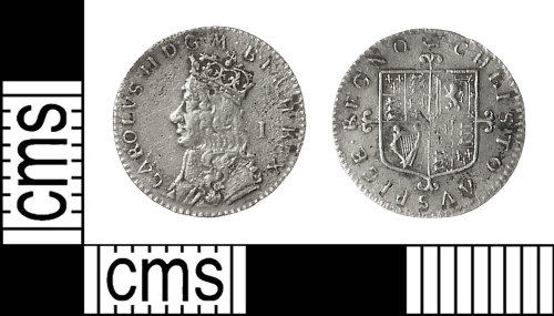IOW-B945A0: Post-Medieval Coin: Penny of Charles II