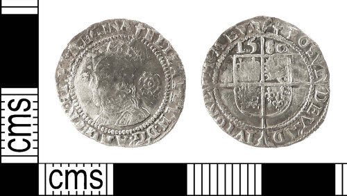 IOW-E1D914: Post-Medieval Coin: Threepence of Elizabeth I