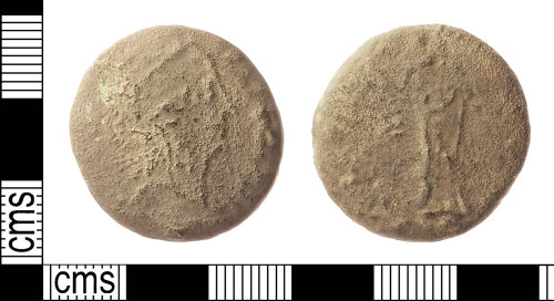 IOW-9F2BE7: Roman Coin: Sestertius, probably of Diva Faustina I