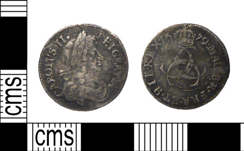 PUBLIC-DD7142: A complete post-Medieval silver threepence of Charles II (1660-1685), minted at London and dated 1679 on coin.