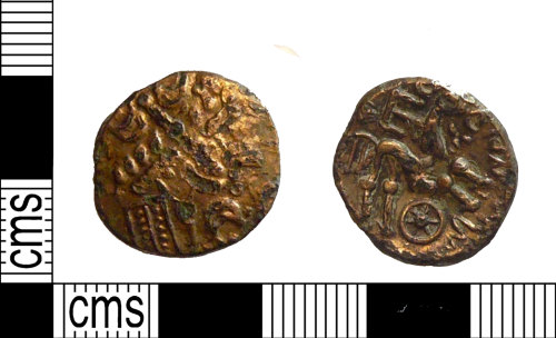 PUBLIC-FB385A: An Iron Age gold plated bronze cored stater of Commius of the Atrebates and Regni.