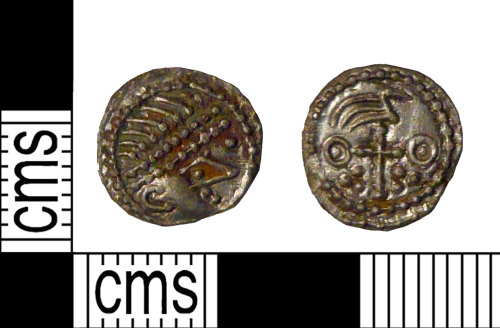 PUBLIC-851F46: A complete early medieval silver penny (sceat) of late Primary to early Secondary Phase Series BIIIc, type 27b.