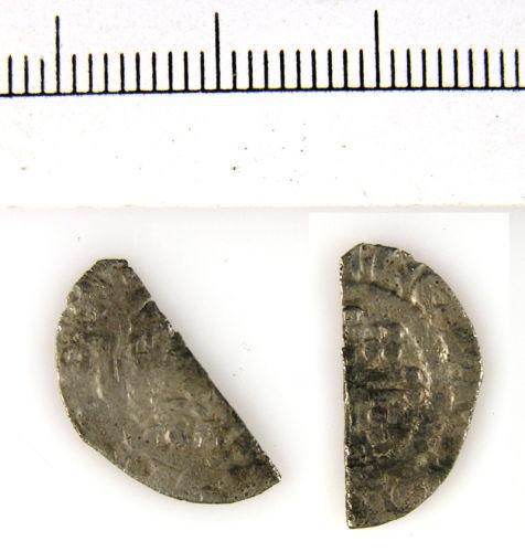 LVPL-B68177: Silver half cut short cross penny of John (1199-1216), probably class 5, 1204/5- 1208/9