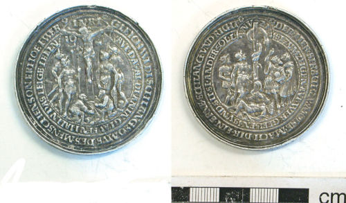 A resized image of German religious medal, Post-Medieval.