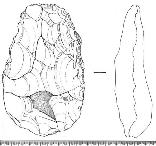 SF8376: Drawing of palaeolithic handaxe