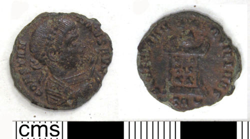 DUR-2A51A5: 10. Copper alloy nummus of the House of Constantine, minted in Trier, 321-3 AD