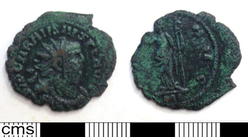 DUR-E32B53: 10. Copper alloy radiate of Carausius, minted in London, 286-93. Rev- ?PAX AVG; ?Pax stg. l. hdg. branch and vertical sceptre. RIC V, pt.2, p.472, c.f.101