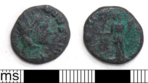 DUR-C0D712: 3. Copper alloy barbarous radiate, copying Claudius II, c.275-85. Cunetio c.f. no. 2820