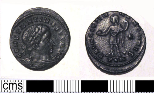 DUR-D36867: Copper alloy nummus of the House of Constantine I, minted in London, AD 318