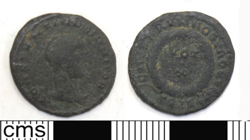 DUR-007BA8: Copper alloy nummus, probably of Constantine II minted in Trier, 321-324 AD