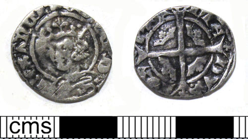 DUR-FF7C60: Silver half penny of Edward III (1327-77), minted for the Duchy of Acquitaine c.1330- early 1340s