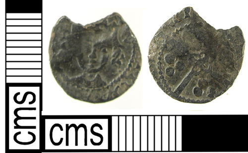A resized image of A Medieval silver coin: half penny of Edward I (1299-1301).