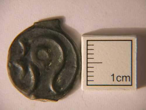 A resized image of Kent-DD67D3. Iron Age. Coin. Uninscribed British potin. Obverse view.