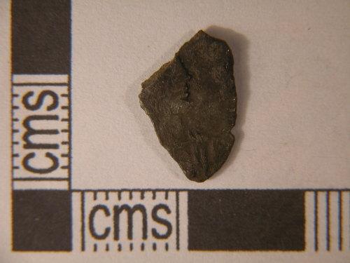 KENT-1A3D11: Kent-1A3D11. Coin fragment. Siliqua of Arcadius. Obverse view.