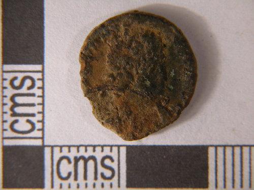 KENT-0C3857: Roman. Coin. Nummus AE4 of probably Constans. Obverse view.