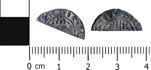 HESH-598F77: Medieval Coin: Probable cut halfpenny of Henry VIII