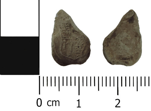 DENO-68D579: Post Medieval: Incomplete Cloth seal decorated with Royal shield