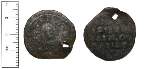 CAM-064213: Copper-alloy Pierced Coin Possible Follis