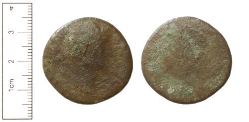 CAM-4A95C6: Roman Coin : A Worn Copper-alloy Sesterius