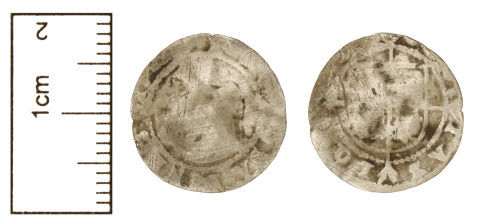 CAM-B12EAE: Post-Medieval Coin : A, possibly/probably clipped, very worn and slightly bent post-medieval silver Tudor coin, possibly a halfgroat, AD 1485-1603.