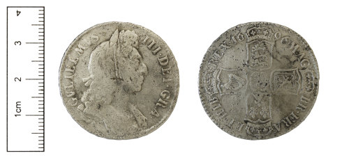 CAM-2D2BBB: Post-Medieval Coin : Silver halfcrown of William III, sole reign, AD 1694-1702.