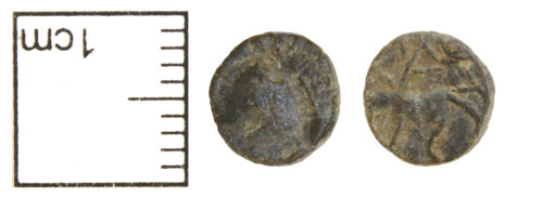 CAM-77FB54: Iron Age or Roman coin : probably Roman contemporary copy of a nummus, Soldier spearing fallen horseman type.