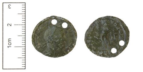 CAM-B141A8: Roman Coin : Double pierced nummus - SOLI INVICTO COMITI