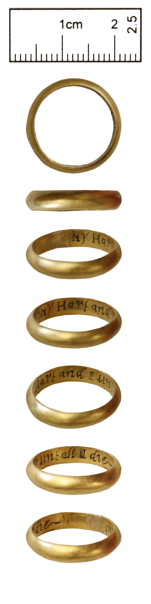 CAM-D38E7E: Post-Medieval gold posy finger-ring inscribed: MY Hart and I untell I die.