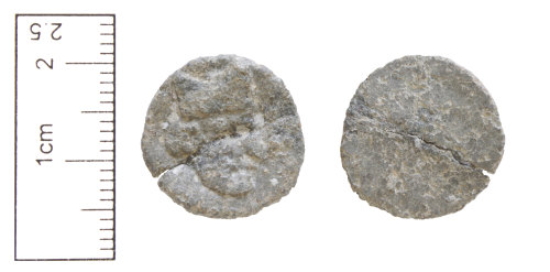 A resized image of Unknown date : lead-alloy disc, probably used as a token or possibly a gaming piece.