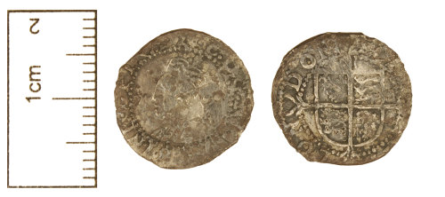 PUBLIC-139D72: Post-Medieval coin : Clipped silver half groat of Elizabeth I.