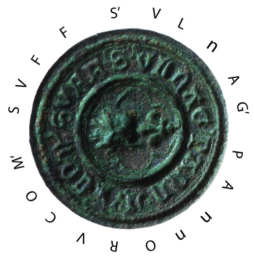 NFAHG-C241B0: Medieval seal matrix, reversed and with lettering added