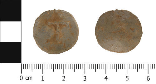 WMID-AF3453: Late Medieval to Post Medieval: Lead Alloy Unifaced Token